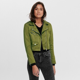 Only Short Faux Suede Jacket with Zip Fastening