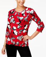 Alfred Dunner Talk Of The Town Studded 3/4-Sleeve Top