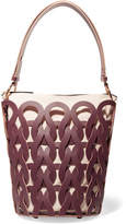 Marni Tricot Woven Leather And Canvas Tote - Burgundy