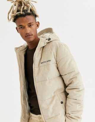Sixth June hooded puffer jacket in stone cord