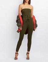Charlotte Russe Corset-Detail Strapless Jumpsuit