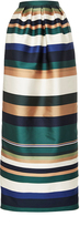 Rosetta Getty Colorblocked Satin Pleated Column Skirt