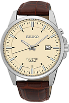 Seiko Ska733p1 Kinetic Date Leather Strap Watch, Brown/cream