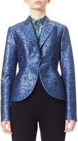 DELPOZO Metallic Jacquard Tweed Jacket, Blue