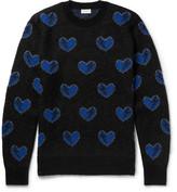 Saint Laurent Heart-intarsia Mohair-blend Sweater - Black