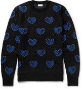 Saint Laurent Heart-Intarsia Mohair-Blend Sweater