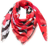 Desigual Red & Black Heart Stripe Scarf