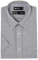 Haggar Men's Short Sleeve Shadow Gingham Dress Shirt