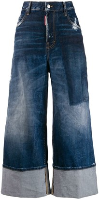 DSQUARED2 wide leg panelled jeans