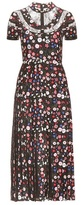 Valentino Printed Silk And Lace Dress