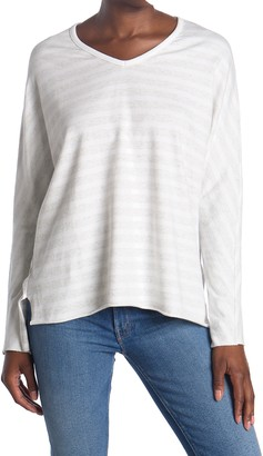 Frank And Eileen Heathered Stripe V-Neck Long Sleeve T-Shirt