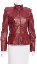 Akris Leather Mock Neck Jacket