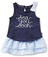 Nautica Little Girls 2T-6X Sea You Soon Top and Striped Seersucker Skirt Set