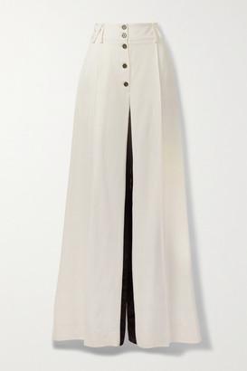 Proenza Schouler Two-tone Satin-trimmed Woven Wide-leg Pants - Ivory