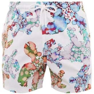 Vilebrequin Moorise Marbled Turtle Print Swim Shorts - Mens - White Multi