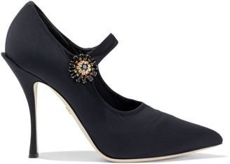 Dolce & Gabbana Crystal-embellished Stretch-knit Mary Jane Pumps