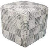 Kas Rugs Elegant Square Decorative Pouf in Ivory/Gray