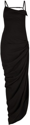 Jacquemus La Robe Saudade black twill maxi dress