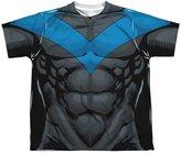 Batman Nightwing Muscular Blue Uniform Big Boys Youth Front Print T-Shirt Tee