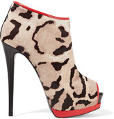 Giuseppe Zanotti Leather-trimmed leopard-print calf hair ankle boots