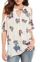 Blu Pepper Gigi Keyhole Neck Cold Shoulder Floral Print Tunic Top