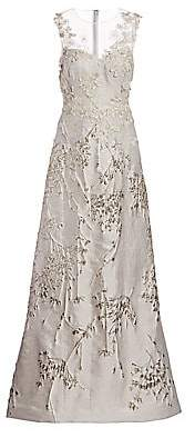 Teri Jon by Rickie Freeman Women's Metallic Floral Embroidered & Appliqué Sheer Yoke A-Line Gown