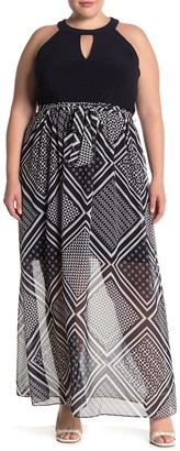 Vince Camuto Keyhole Front Mixed Media Maxi Dress (Plus Size)