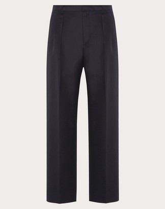 Valentino Silk Cotton Pants Man Blue 56