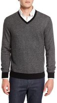 Neiman Marcus Cashmere-Cotton Contrast-Trim V-Neck Sweater, Black/Ash