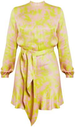 Undress Adria Floral Printed Pastel Pink Lemon Green Open Back Mini Dress