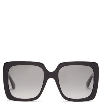 Gucci Crystal-logo Oversized Square Acetate Sunglasses - Black
