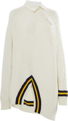 Alexander Wang Rib-Knit Wool-Blend Varsity Sweater