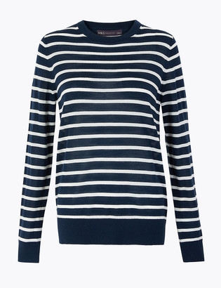 Marks and Spencer Pure Merino Wool Striped Crew Neck Jumper
