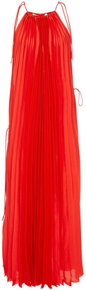 Stella McCartney Bow-detailed Pleated Satin Maxi Dress