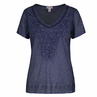 Tribal Women's S/S Sweet Heart TOP W/Embroidery T-Shirt