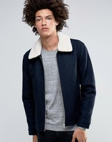 Minimum Dawkins Wool Bomber Jacket Detatchable Borg Collar