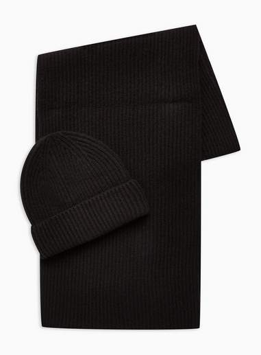 Topman Mens Black Lambswool Ribbed Beanie And Scarf Set