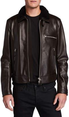 Tom Ford Men's Shearling-Trim Leather Jacket