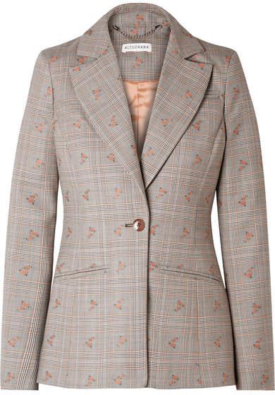 Altuzarra Embroidered Checked Wool-blend Blazer - Beige