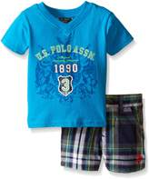 U.S. Polo Assn. Baby Boys' 2 Fer Look V-Neck T-Shirt and Plaid Short