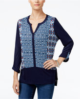 Style&Co. Style & Co. Printed Split-Neck Top, Only at Macy's