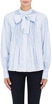 Teija Women's Striped Cotton Smocked Blouse-BLUE