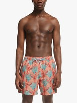 John Lewis & Partners Recycled Poly Lobster Print Swim Shorts, Coral