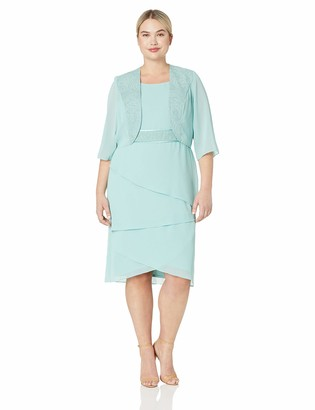 Le Bos Women's Plus Size Tiered Jacket Dress with Glitter Embelishment