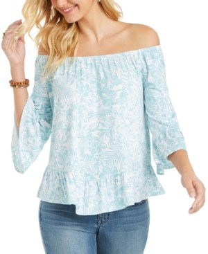 Style&Co. Style & Co Petite On/Off-Shoulder Printed Top, Created for Macy's