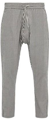 Marrakshi Life - Striped Cotton Blend Trousers - Mens - Black Cream