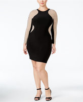 Xscape Evenings Plus Size Beaded Illusion Bodycon Dress