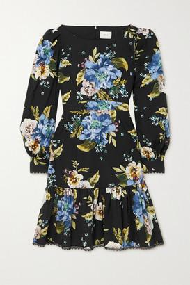 Erdem Rydal Lace-trimmed Floral-print Cotton-poplin Mini Dress - Black