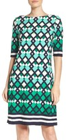 Eliza J Petite Women's Border Print Shift Dress