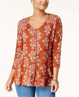 Style&Co. Style & Co Petite Printed Swing Top, Created for Macy's